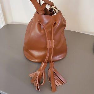 Neiman Marcus Tyler Sm Leather Tassel Bucket Bag